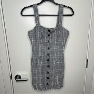 🎁4/20$🎁 grey plaid button up mini dress